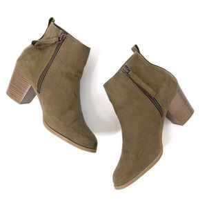 Old Navy Mid Ankle Boots Oregon Trail Olive Size 8